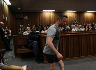 Pistorius walks on stumps in court ahead of murder sentence