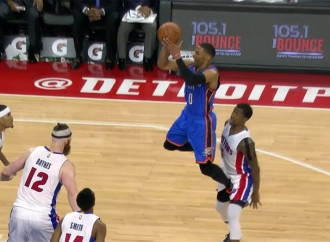 Russell Westbrook got T'd up for heel-kicking Kentavious Caldwell-Pope in the groin