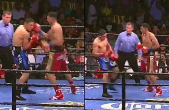 Boxer brutally knocks out opponent with ridiculous 7-punch combo