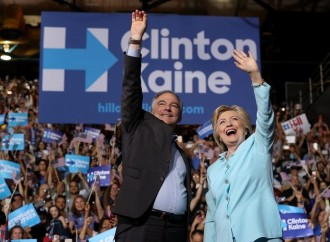 A beaming Hillary Clinton introduces Tim Kaine in Miami