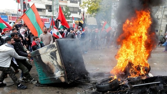 Violence flares at protest near U.S. Embassy in Lebanon